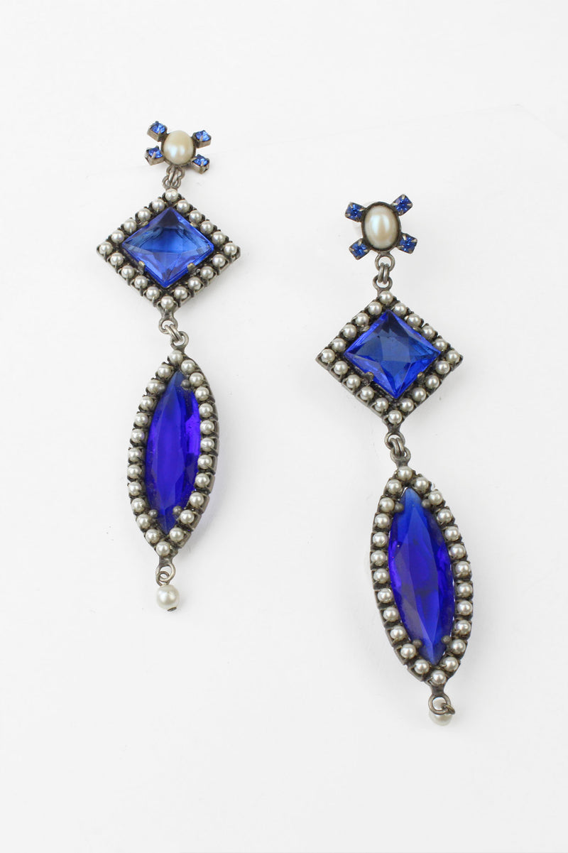 De Luxe Blue Drop Earrings