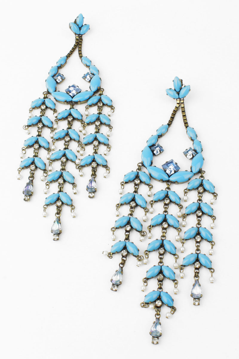 De Luxe Turquoise Blue & Pearl Statement Earrings