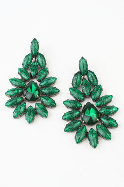 De Luxe Emerald Green Big Navette Earrings