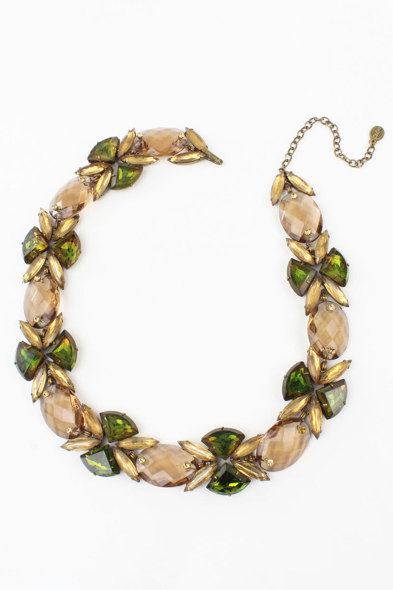 De Luxe Dreamy Green & Gold Crystal Necklace