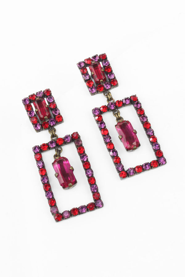 De Luxe Purple & Pink Matching Composition Earrings