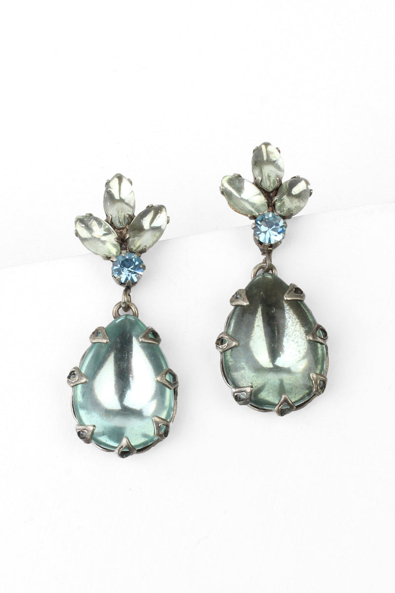 De Luxe Sky Blue Teardrop Earrings