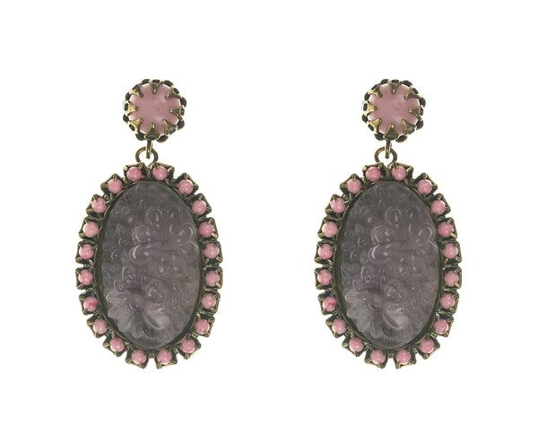 De Luxe Carved Floral Cameo Earrings