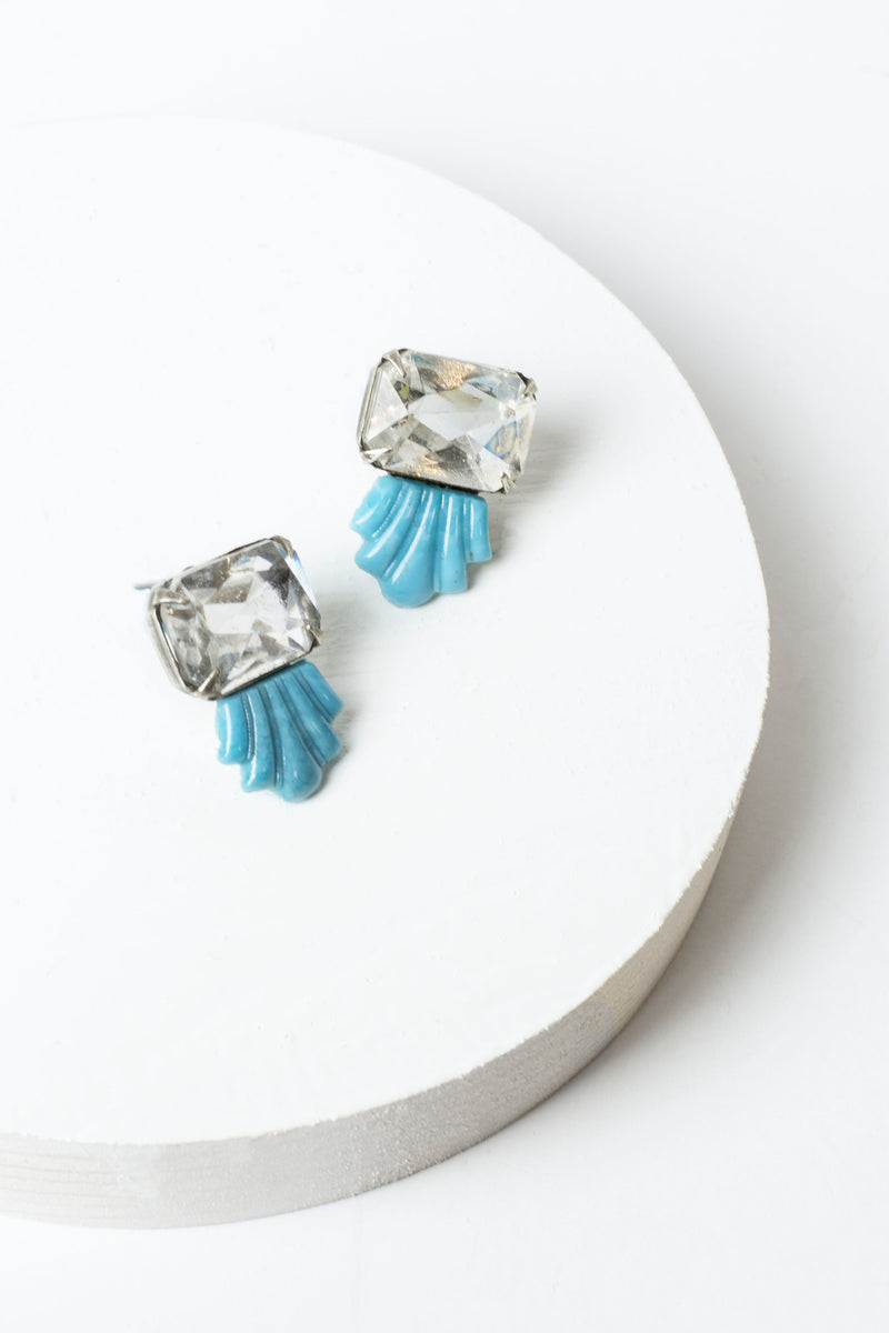 De Luxe Faceted Deco Fan Earrings