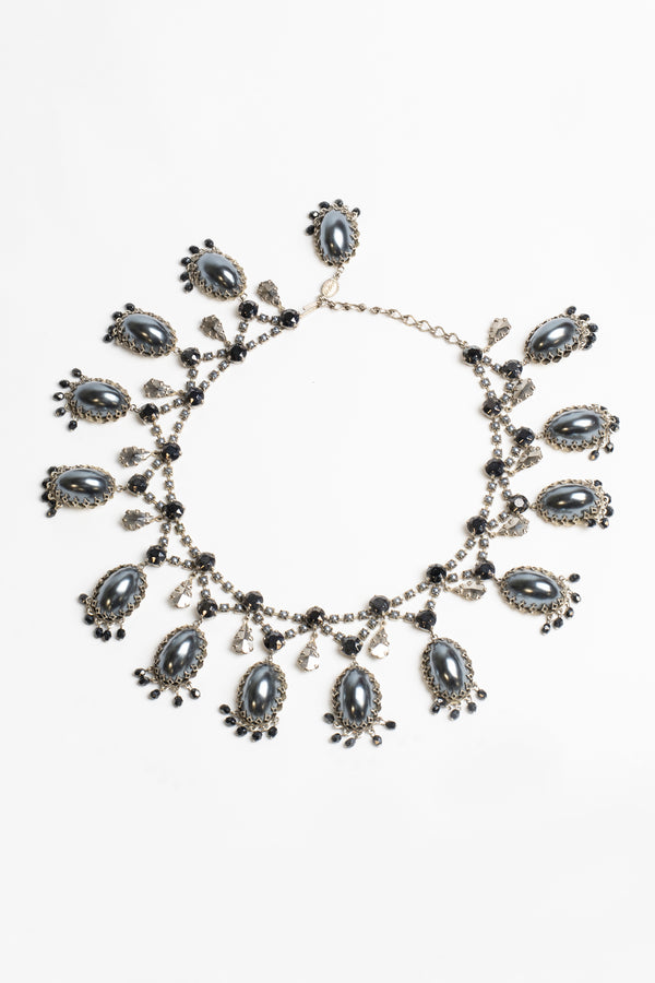 De Luxe Pearl Grey Droplet Necklace