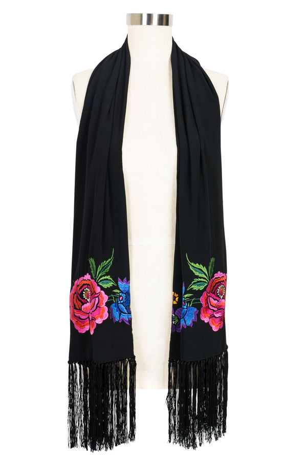 Embroidered Fringe Scarf - Mod Flamenco