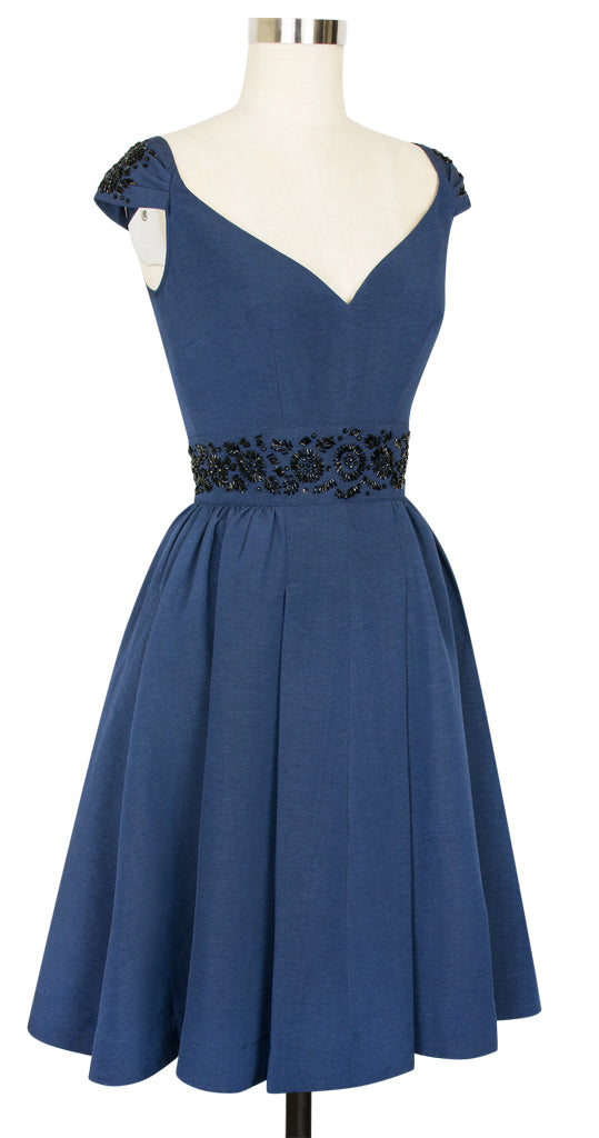 Eva Marie Dress - Dark Blue Ribbed Rayon