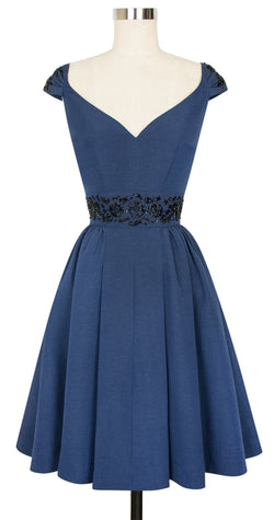 Eva Marie Dress - Dark Blue Ribbed Rayon - Final Sale