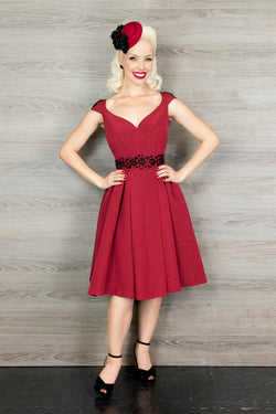 Eva Marie Dress - Red Ribbed Rayon - Final Sale