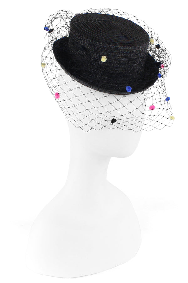 F&M Multi Pom Veil Top Hat