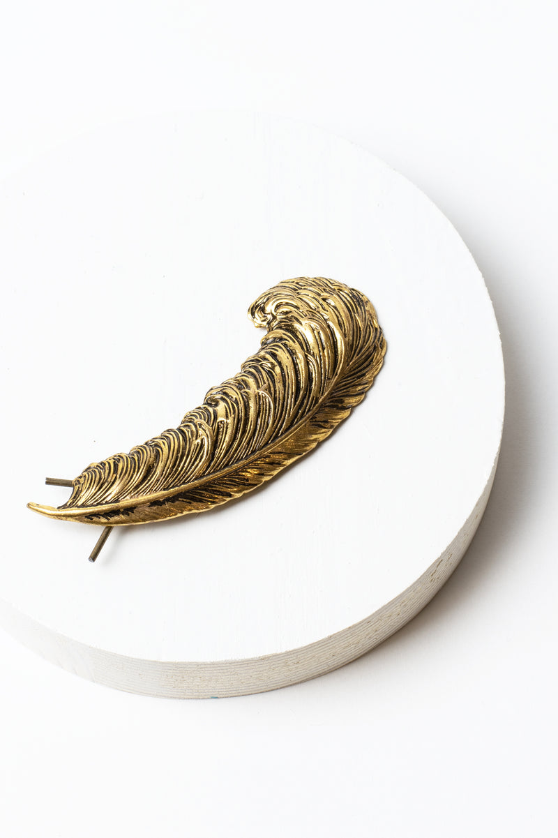 Vintage Feather Hair Barrette