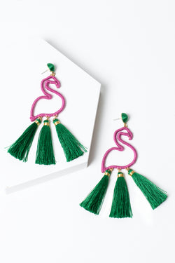 Flamingo Tassel Earrings