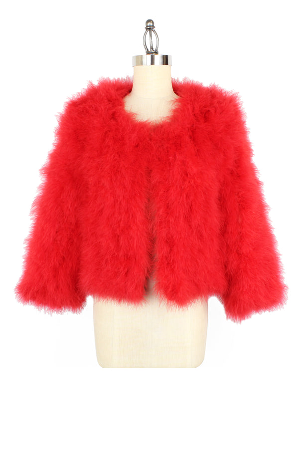 Red Marabou Feather Jacket