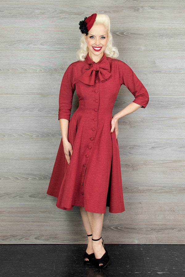 Grace Coat Dress - Red Ribbed Rayon