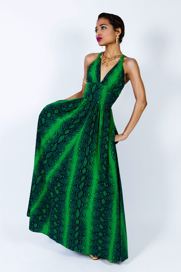 Minda Dress - Green Snake