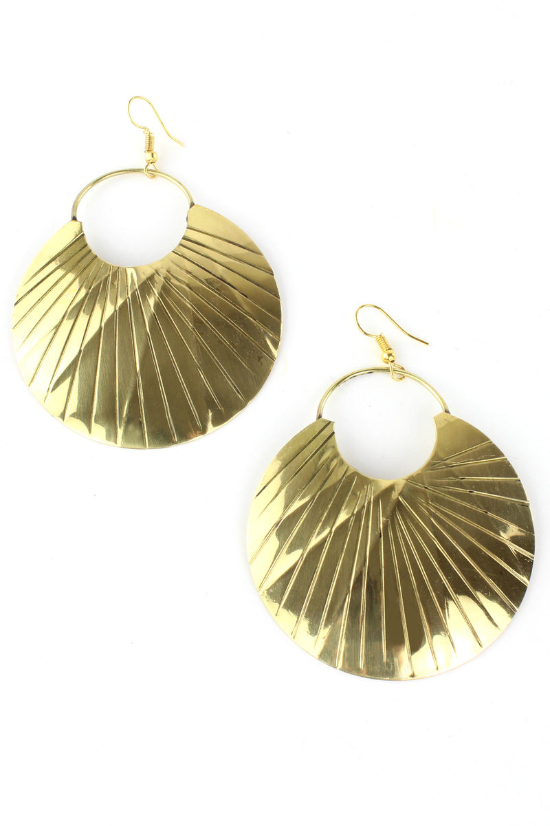 Golden Sun Ray Disc Earrings