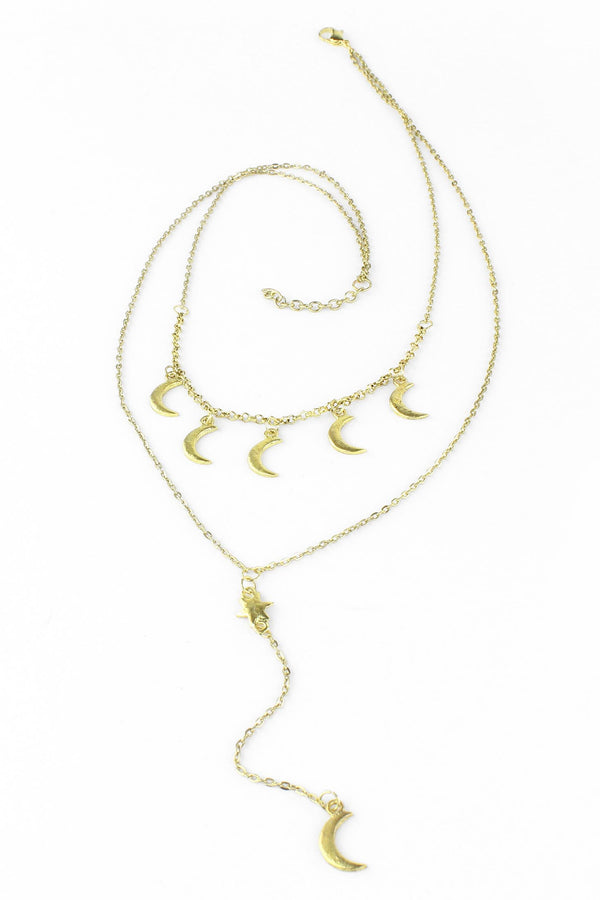 Celestial Gold Moons and Star Dangle Layered Necklace