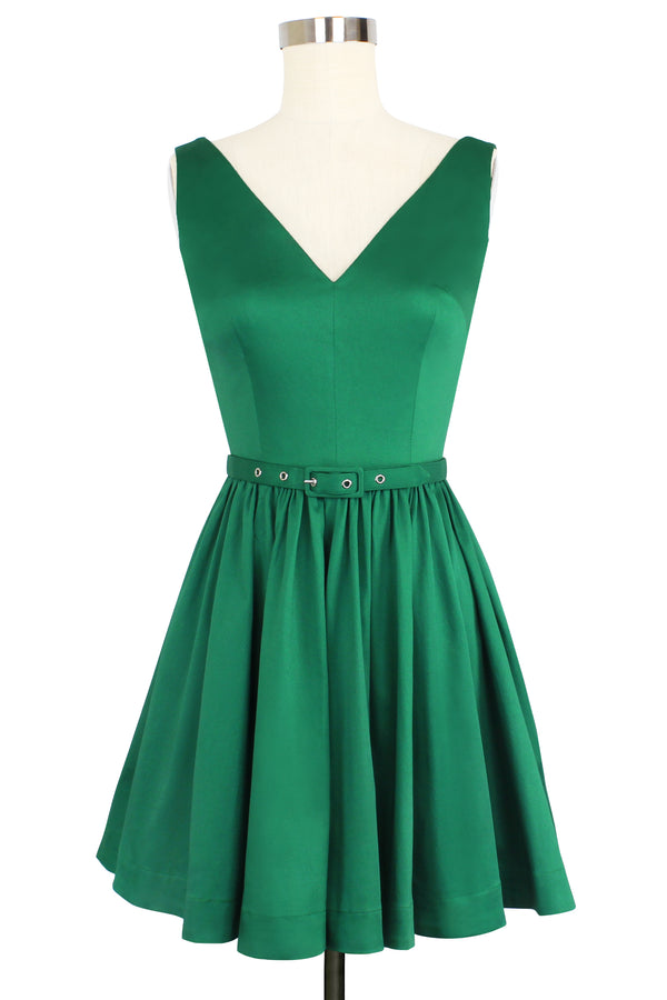 Mini Ballerina Dress - Green Stretch Cotton