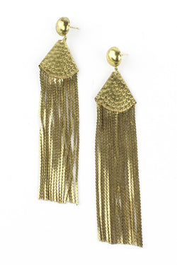 Antique Hammered Gold Chain Drop Earrings