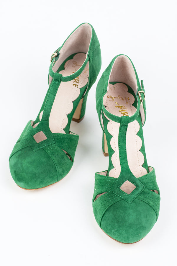 Retro Vintage Style Miss L Fire Green Suede T-bar T-strap Heels - Trashy Diva