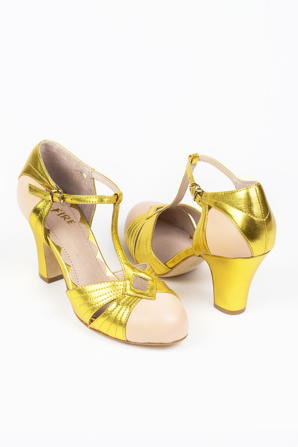 Miss L Fire Hepworth Heels - Trashy Diva - Metallic Gold