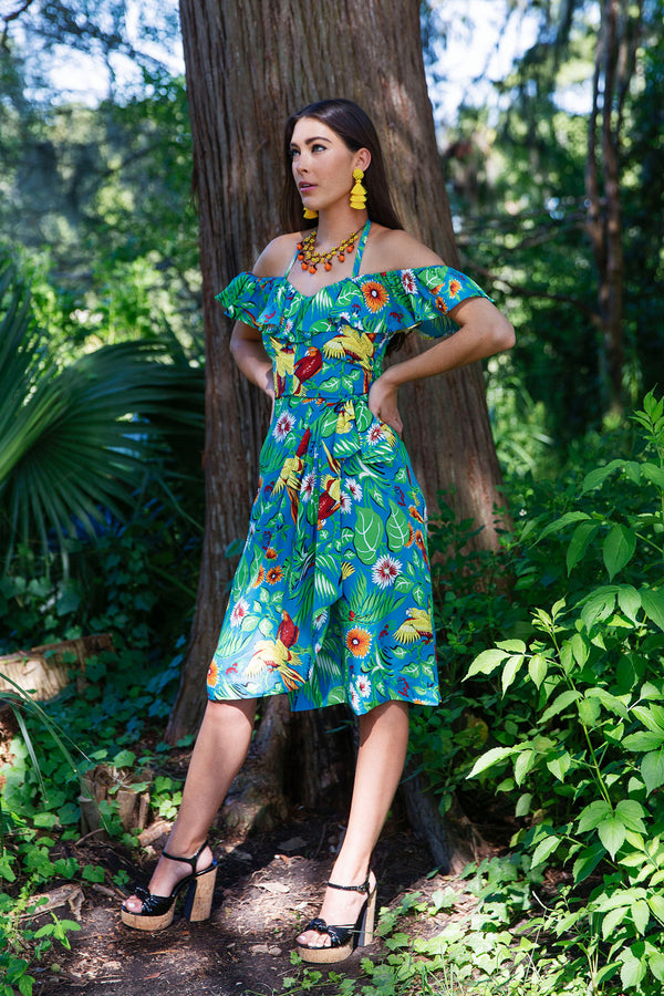 Hollywood Sarong Dress - Jungle Parrots PRE ORDER