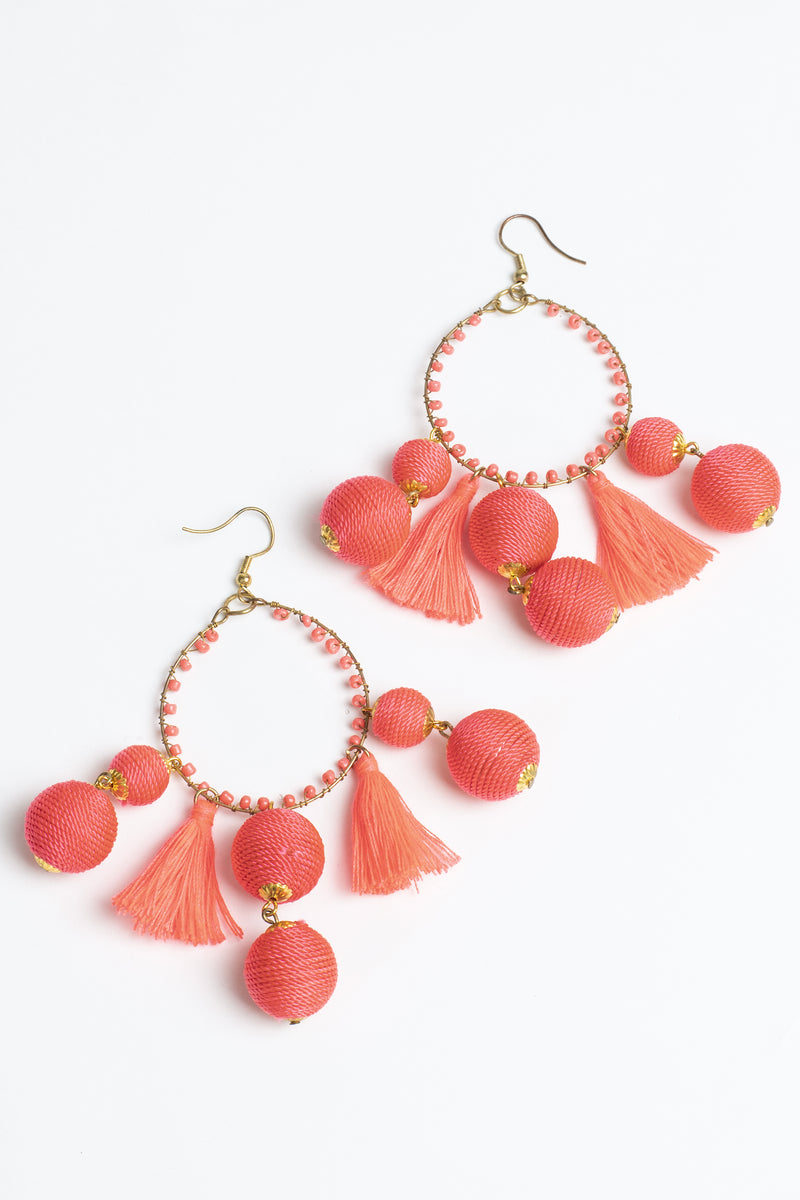 Neon Thread Hoop Beaded Earrings