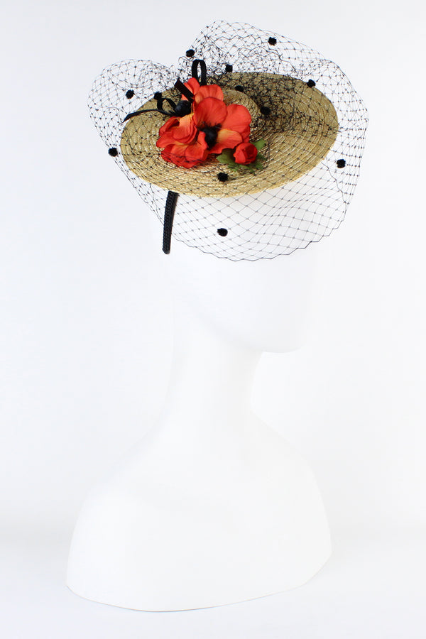 Kathy Jeanne Mini Hat Fascinator with Poppy