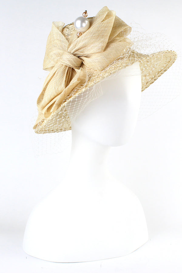 Kathy Jeanne Hat with Large Bow and Pearl Pick