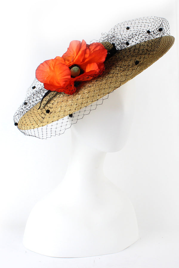 Kathy Jeanne Straw Hat with Poppy and Netting