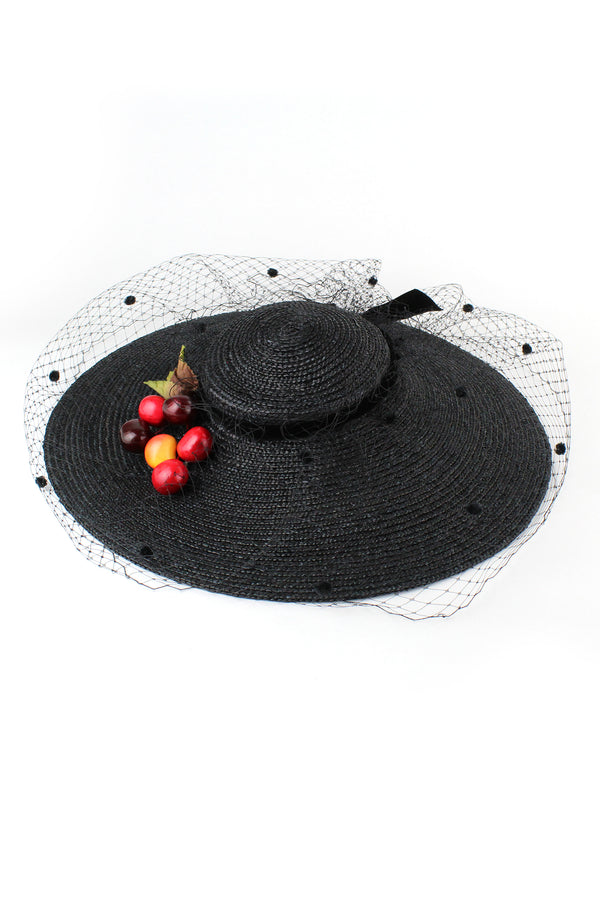 Kathy Jeanne Straw Hat with Cherries and Netting