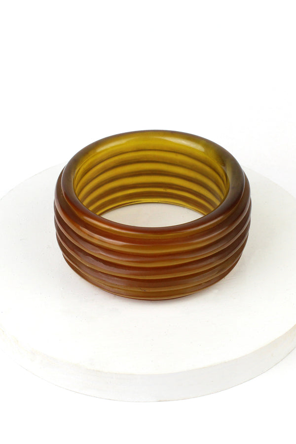Bakelite Estate - Translucent Amber Thick Ribbed Bangle
