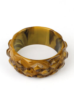 Bakelite Estate - Snakeskin Marbled Caramel Bangle