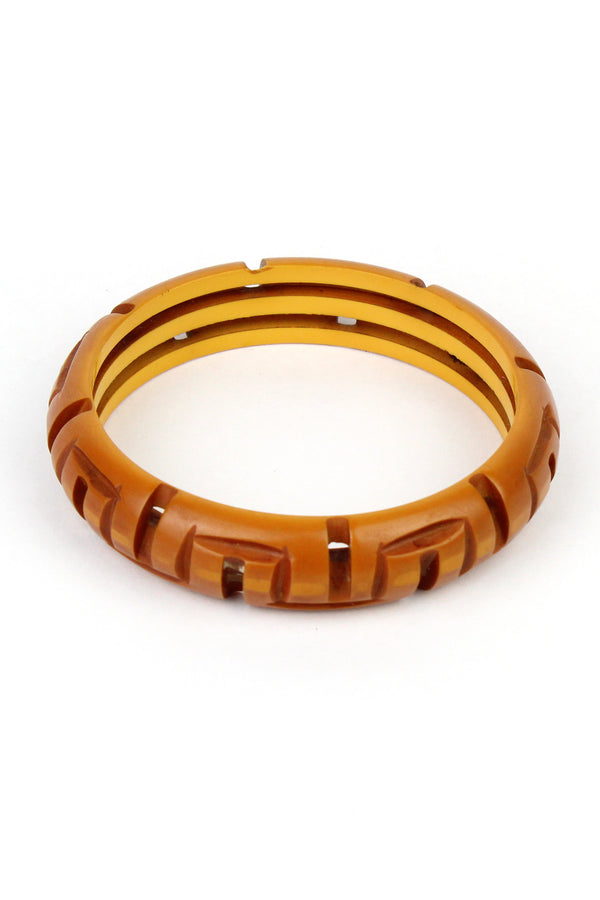 Bakelite Estate - Deco Tiki Carved Bangle