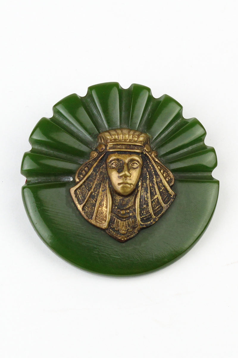 Bakelite Estate- Egyptian Revival Green Bakelite Brooch