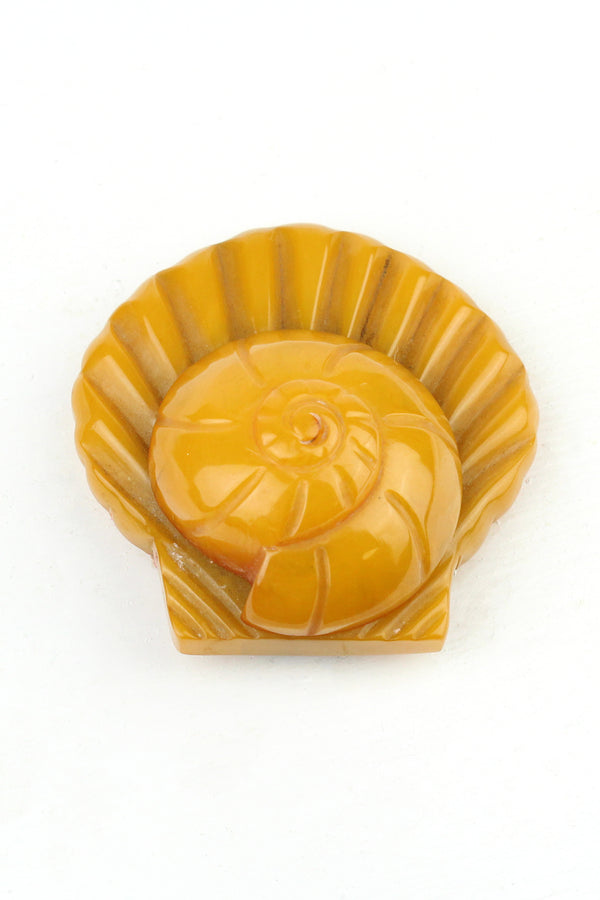 Bakelite Estate -Butterscotch Seashell Dress Clip