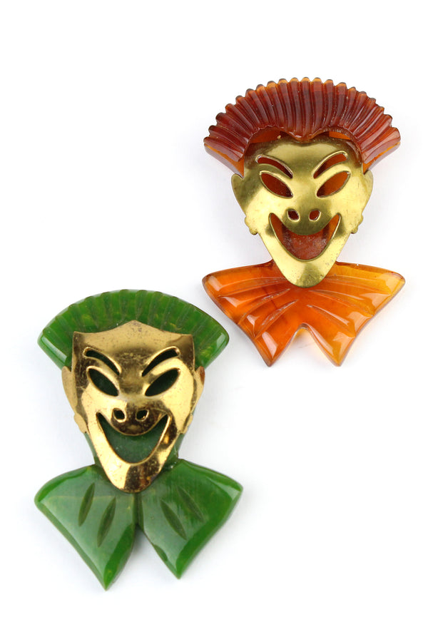 Bakelite Estate -Theater Clown Mask Dress Clips