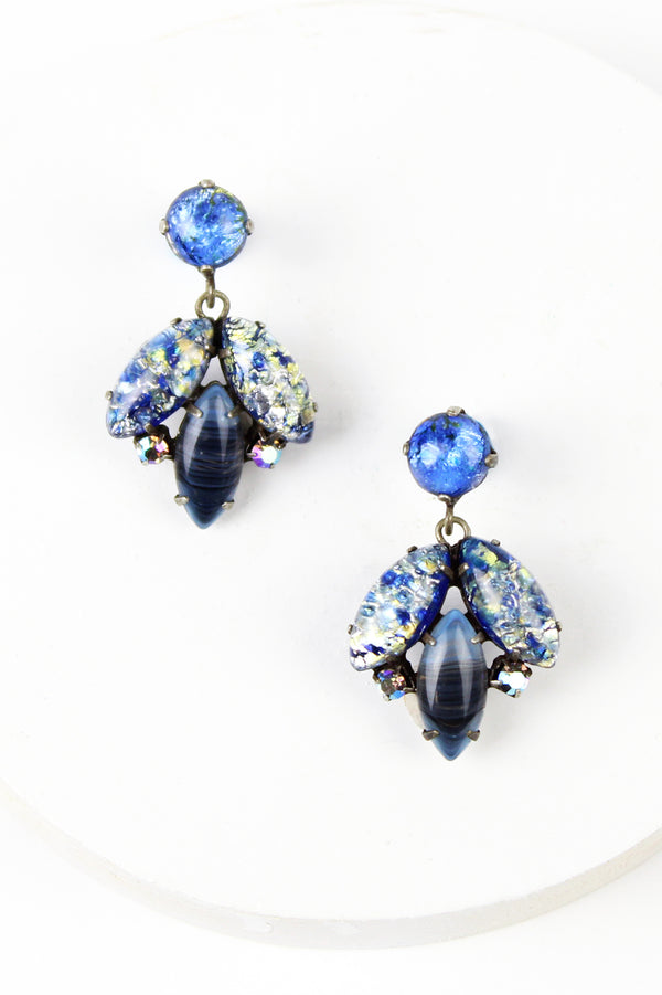 De Luxe Speckled Blue Glass Earrings