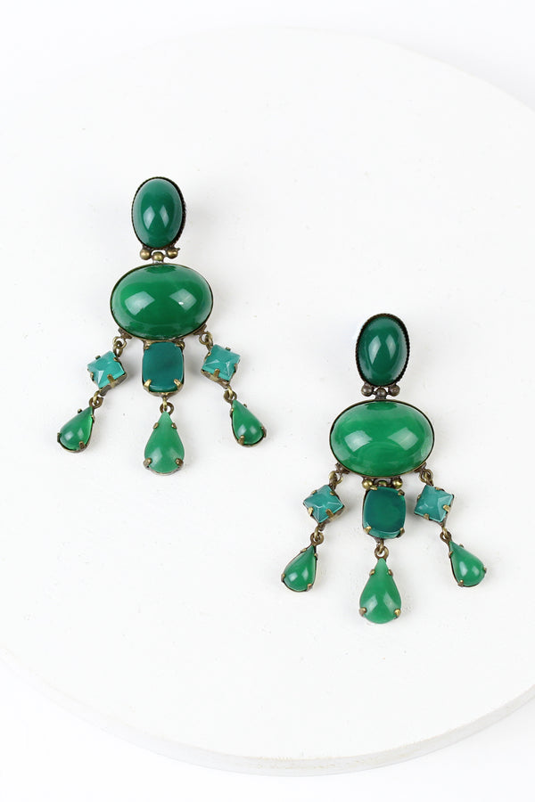 De Luxe Cabochon Drop Earrings