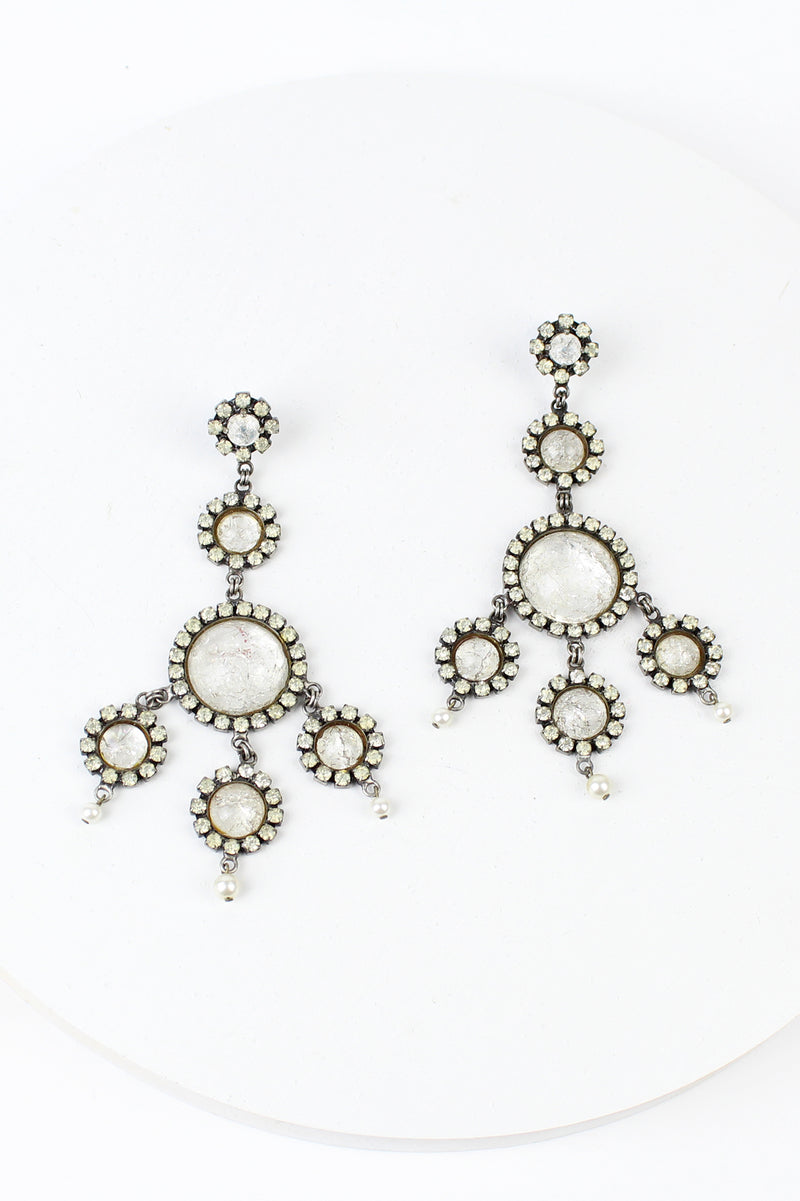 De Luxe Crackle Glass Circle Earrings