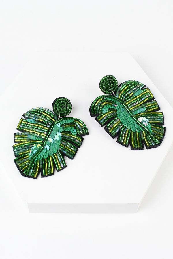 Beaded Palm Leaf Earrings