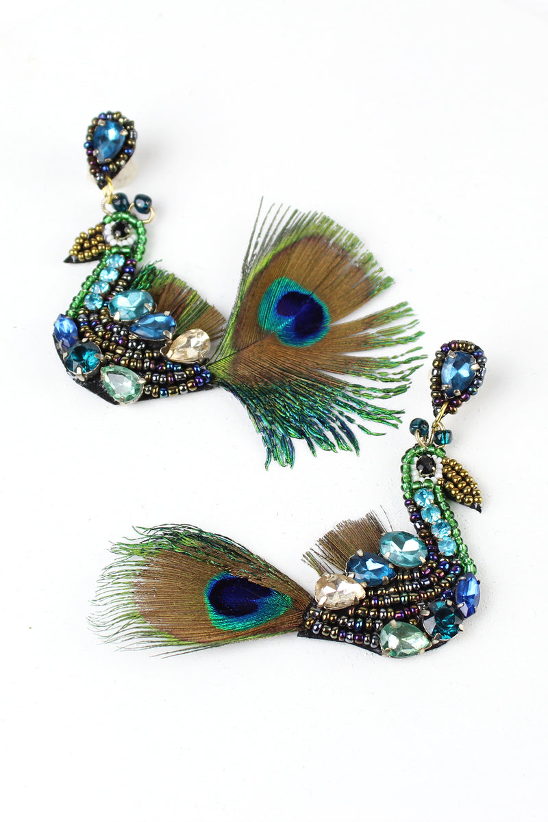Beaded Jeweled Peacock Earrings
