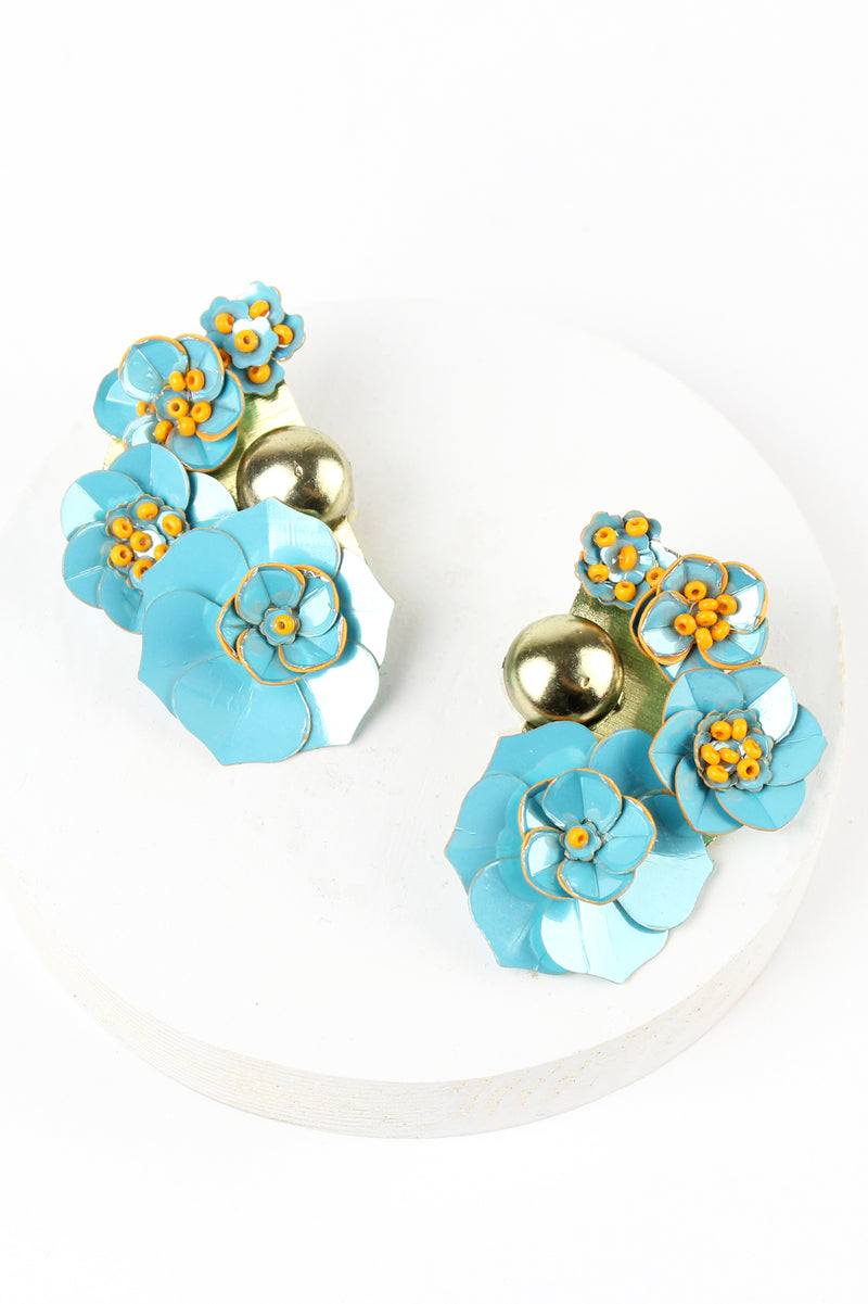 Gold and Blue Floral Earrings