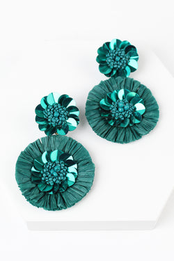Raffia Beaded Flower Disc Drop Earrings