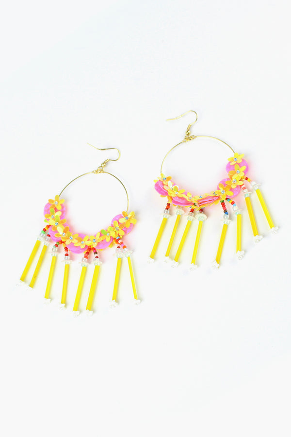Flower and Tube Bead Earrings