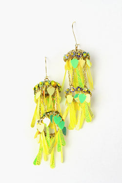 Yellow Iridescent Dangle Earrings