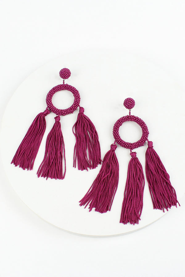 Beaded Hoop and Tassel Earrings