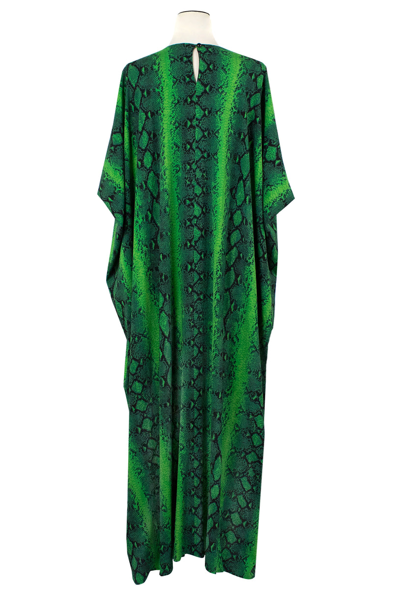 vintage 60's 70's  inspired green snake print caftan perfect for cocktails at Modernism Week in Palm Spring or your next Tiki Event