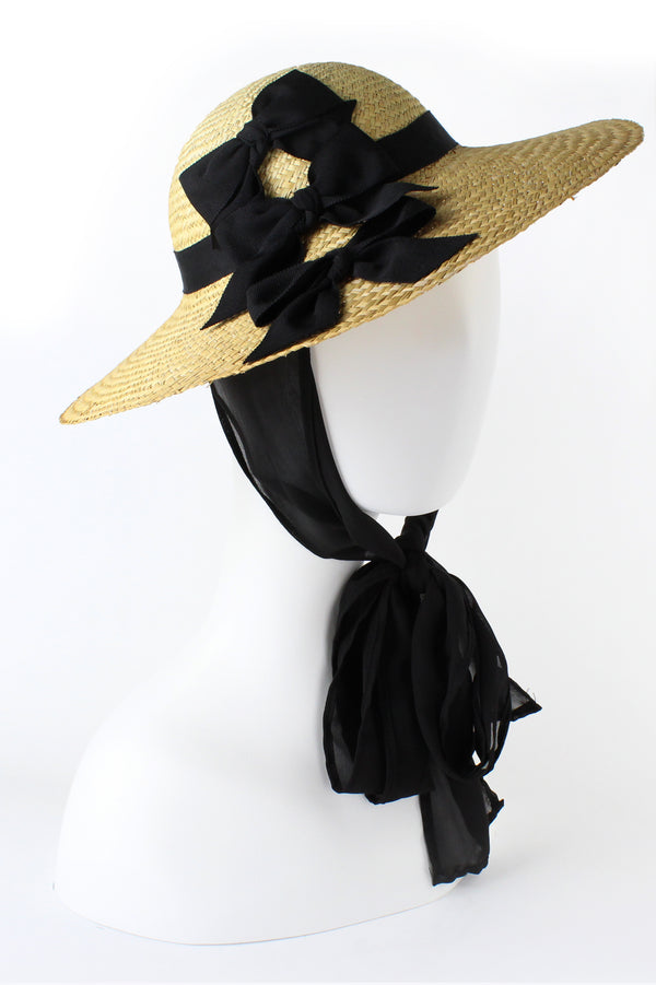 Kathy Jeanne Straw Hat with Triple Black Bows