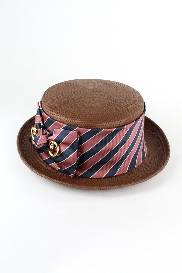 Kathy Jeanne Hat with Striped Ribbon